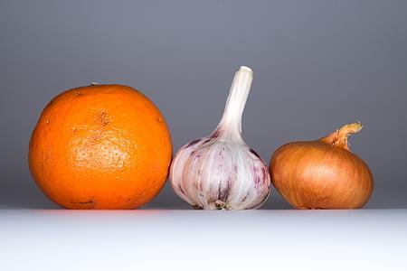küüslauk, sibul, oranž, toidu, vürtsid, maitse, tervise