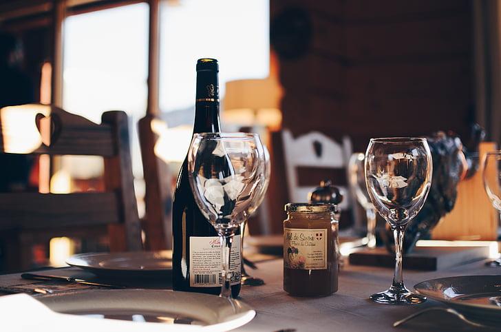 wijn, glas, brouwwater, fles, platen, Restaurant, Bar