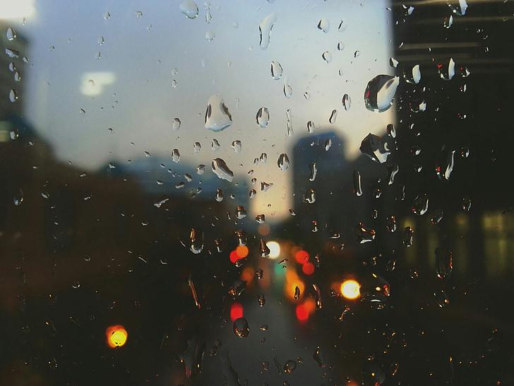 σταγόνες βροχής, βροχή, παράθυρο, Λυπημένο, σκούρο, φώτα κυκλοφορίας τη νύχτα, φώτα αυτοκινήτου