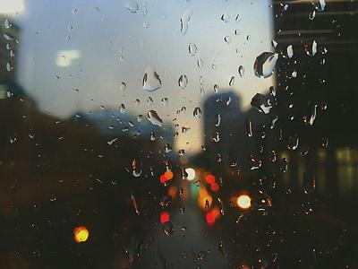 rain drops, rain, window, sad, dark, night traffic lights, car lights