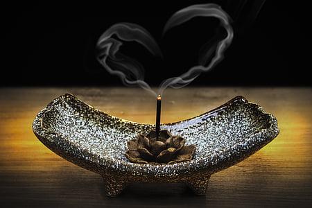 røkelse, røyk, kjærlighet, kjærlig-vennlighet, Metta, hjerte, røykfylt