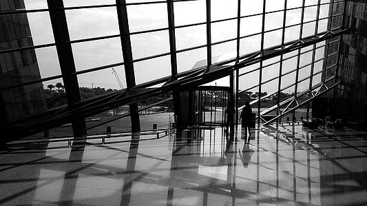 Musée, Ilan, ville, Taiwan, architecture, fenêtre de, réflexion