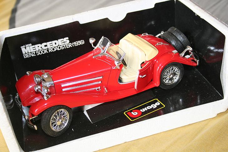 burago, mercedes, benz 500 k roadster 1936, red