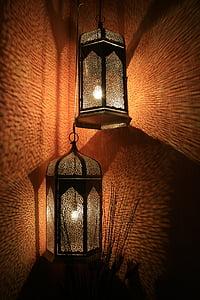 linternas, lámparas, decorativo, luz difusa, reflejando la luz, interior, pared