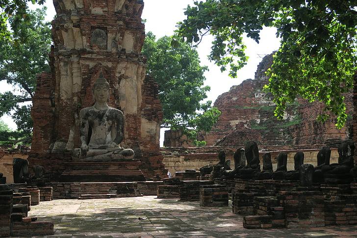 Ayutthaya, Thailand, Buddha, ruin, gamle tempel, Asien, buddhisme