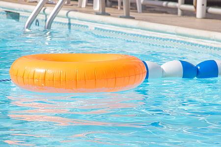 medence, kívül, víz, úszó, úszómedence, úszás, kék