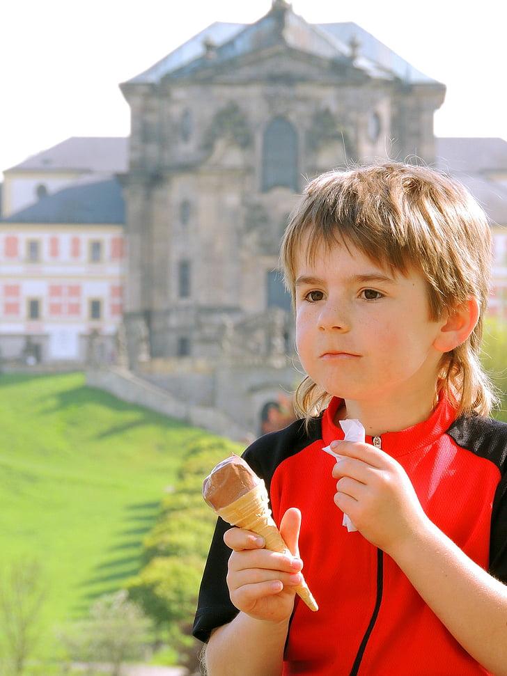 Cậu bé, kem, đi xe đạp chuyến đi, tạm dừng, chuyến đi, chân dung