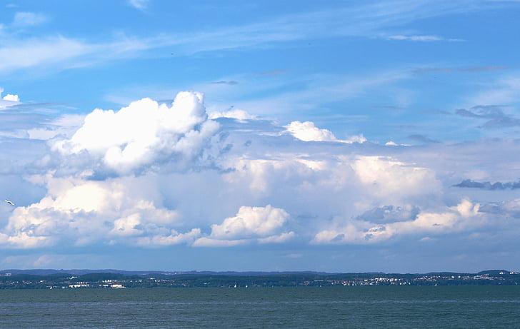 nuages, montagnes de nuages, Sky, eau, humeur, atmosphère