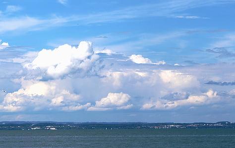 clouds, cloud mountains, sky, water, mood, atmosphere