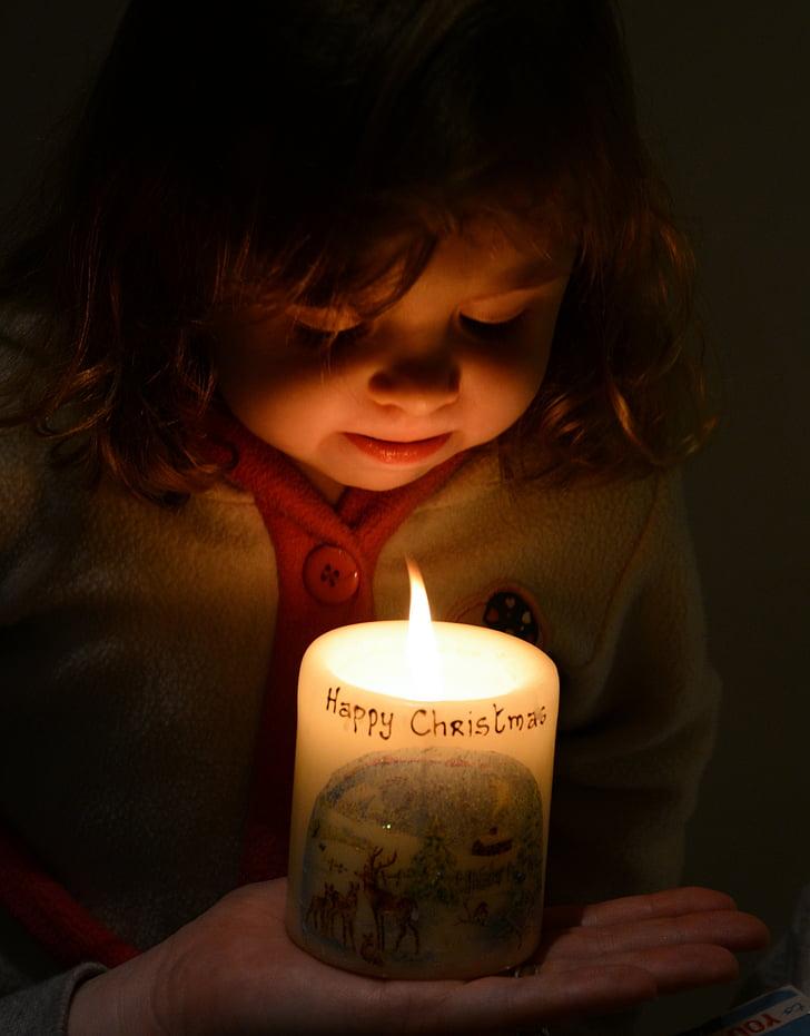 christmas, candle, glow, little girl