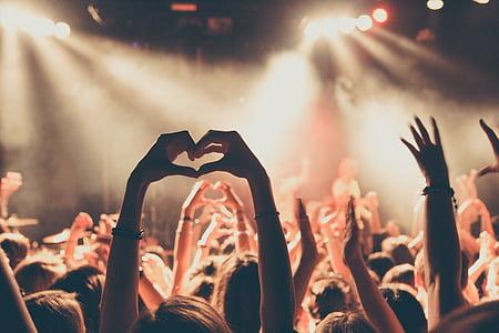 watching, concert, raising, hands, hand, heart, hearts