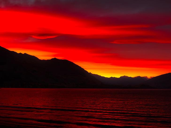 Niu Di-lân, tôi à?, Đại dương, phản xạ, dãy núi, hoàng hôn, Chạng vạng