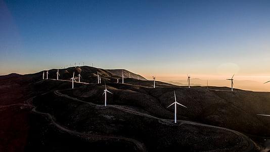 bianco, Mulini a vento, montagna, fotografia, scuro, tramonto, Mulino a vento