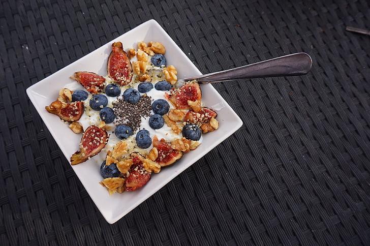 esmorzar, musli, aliments, cereals, baies, nabius, cereals
