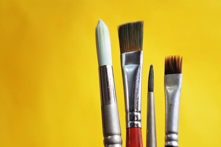 krtačo, barve, umetnost, oblikovanje, slog, kap, rumena
