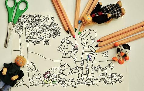värvi, käpard, Lasteaed, pliiatsid, värvimine lehekülgi, Laste joonistus, värvilised pliiatsid