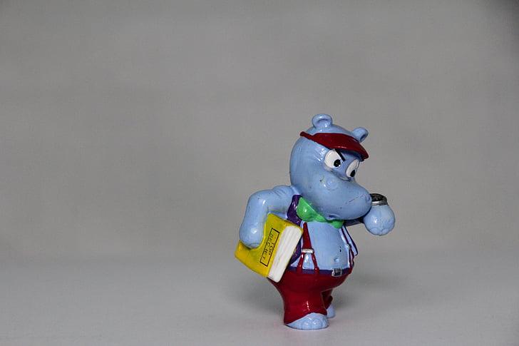 business, career, überraschungseifiguren, happy hippo, gray background, studio shot, no people