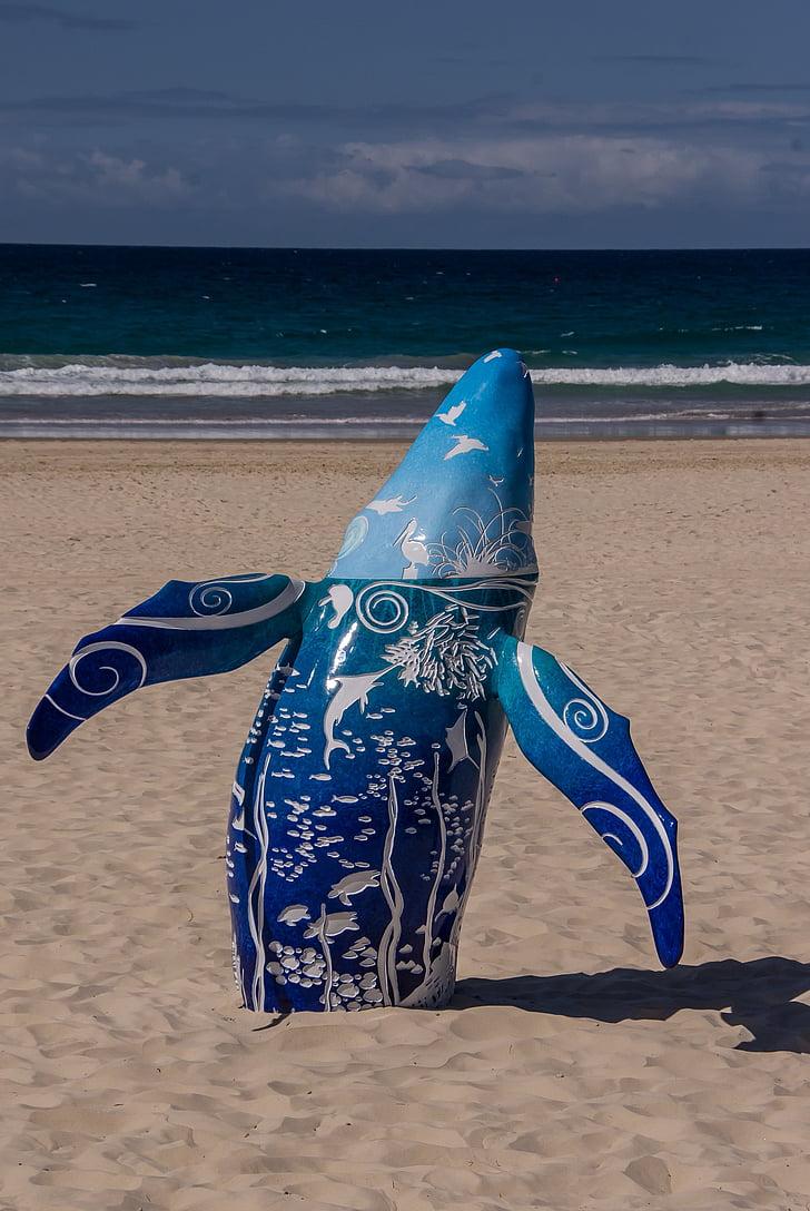 Whale, modell, blå, vit, mönster, keramiska, skulptur