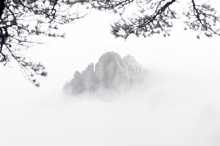Huangshan, l'hivern, muntanyes, una boira de cognom