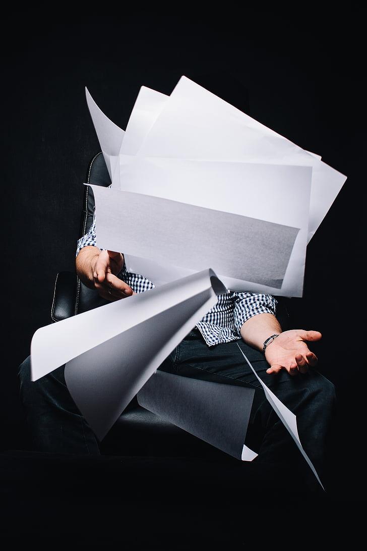 osoba, posedenie, čierna, valcovanie, Stolička, podnikanie, papiere
