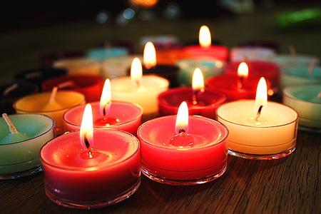 gyertyák, Láng, színes, Karácsony, tűz, fény, szín