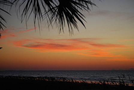 Răsărit de soare, plajă, Orange, apa, coasta, natura, nisip