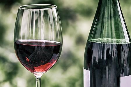 vino, retrò, bicchiere di vino, bottiglia di vino, vino rosso, vetro, alcol