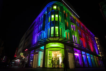 bygge, ledet, opplyst, natt, fargerike, LED-teknologi, sirkulær belysning