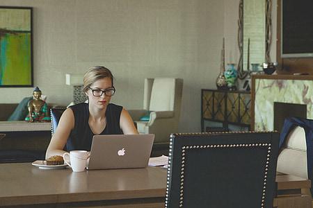 laptop, woman, coffee, breakfast, working woman, desk, modern