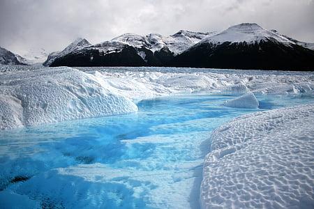 isbre, Argentina, Patagonia, fjell, landskapet, isen, kalde