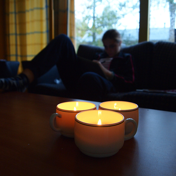 candles, light, twilight, girl, bank, cosy, candle light
