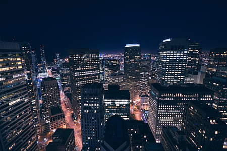 buildings, city, city lights, cityscape, lights, night, skyline
