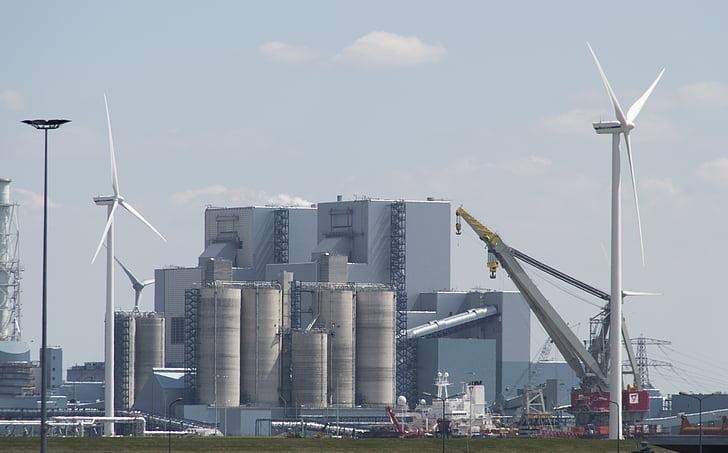 průmysl, chemii, Delfzijl, větrné mlýny