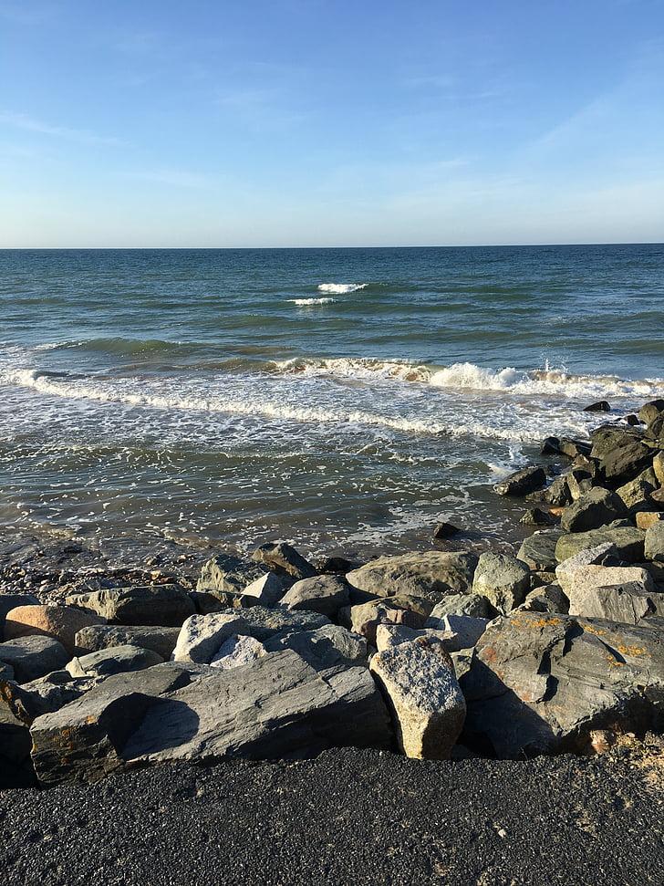 kust, strand, golven, Normandië, Omaha beach, Frankrijk, zeegezicht