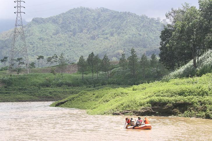 Jezioro, łodzi wiosłowej, Indonezyjski, Java, namiot, charakter działalności