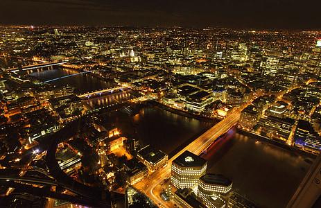 london, night, city, panorama, views of the city, light, cityscape