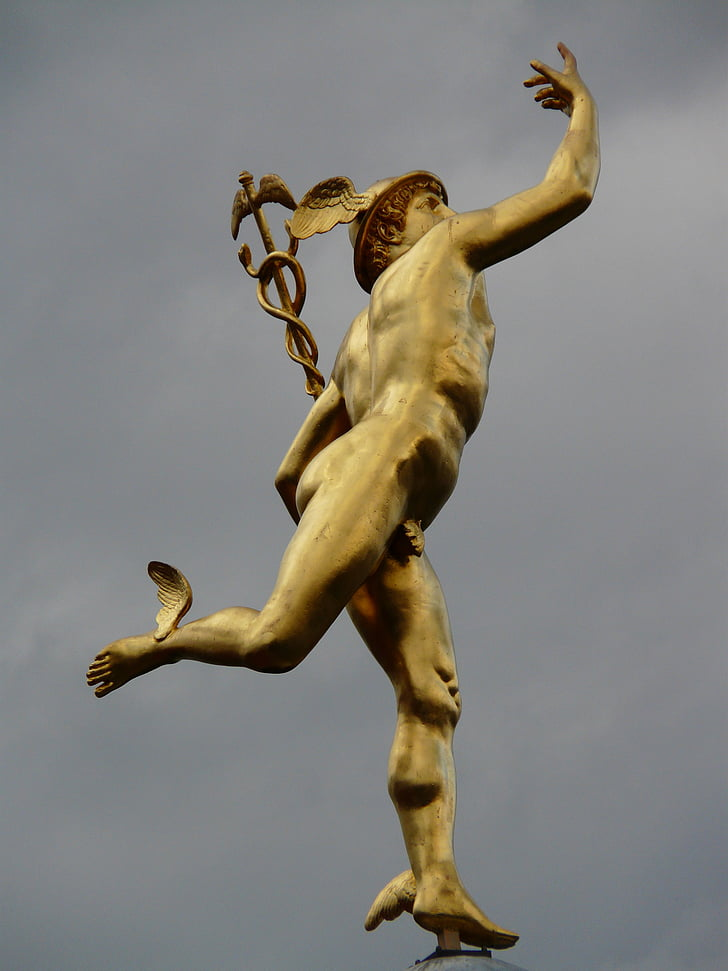 statue, golden, figure, human, man, naked, youth