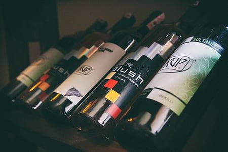 anggur, botol, botol anggur, alkohol, minuman, merah, kaca