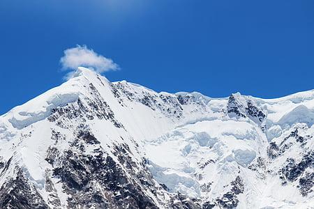 sneeuw berg, blauwe hemel, berg, plateau, sneeuw, winter, gebergte