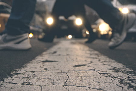 action, adult, asphalt, blur, bokeh, car lights, cars
