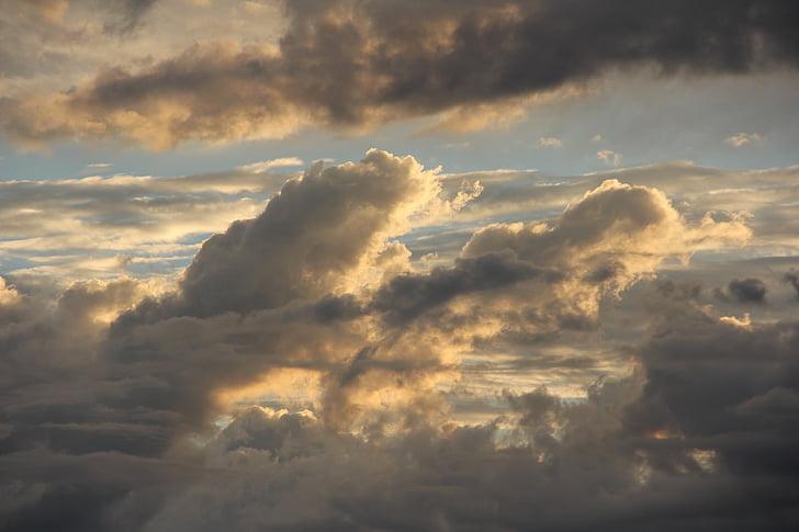 구름, 일몰, 스카이, abendstimmung