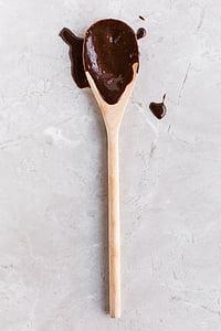 xocolata, Immersió, blanc, laddle, Cullera, fusta, aliments i begudes
