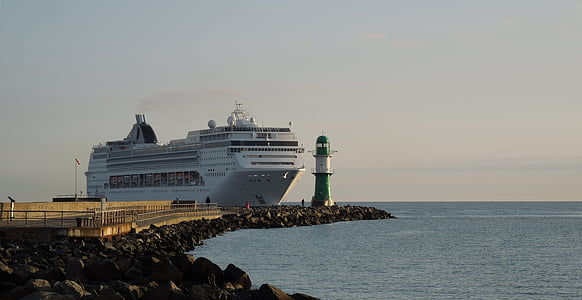 yolcu gemisi, Warnemünde, Köstebek, Deniz feneri, gemi seyahat, gemi, yolcu gemisi