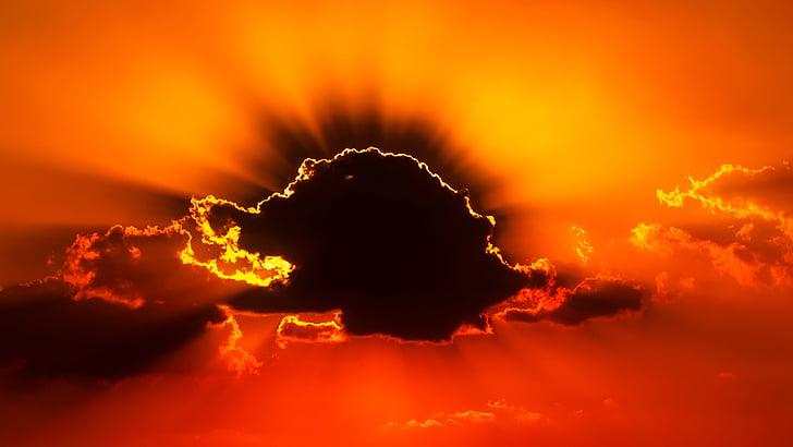 posta de sol, capvespre, cel, núvols, bonica, colors, colors