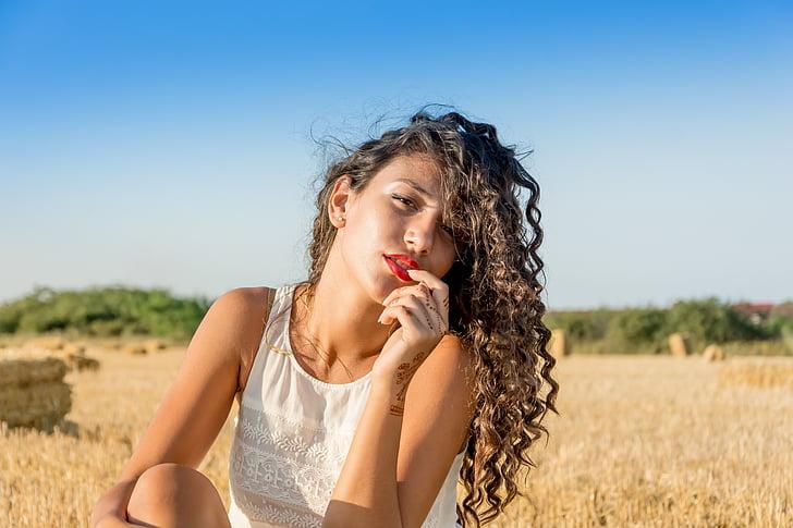 kodrasti lasje, moda, ženski, dekle, Las, model, portret
