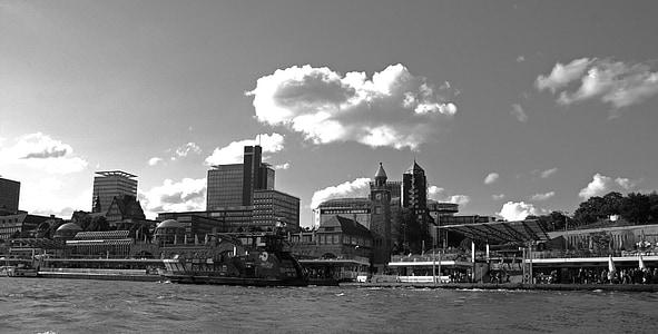 Hamburg kikötő, kínáló, Hanza-város, Harbour city, sétány