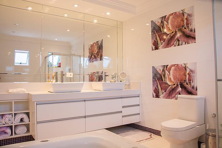 casa de banho, Casa, espelho, luxo, banheiro interno, moderna, dentro de casa