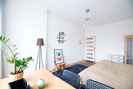 llit, taula, interior, planta, pantalla, Marc, disseny