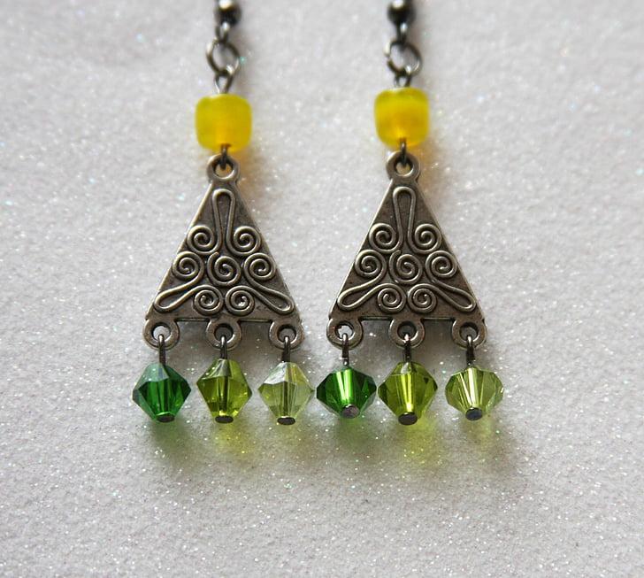 Arracades verdes, pendents, joia, joieria, femella, accessoris, pendents de Nadal