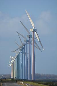 doğa, yel değirmenleri, Hollanda, Rüzgar enerjisi, Görünüm, fitiller, yeşil enerji